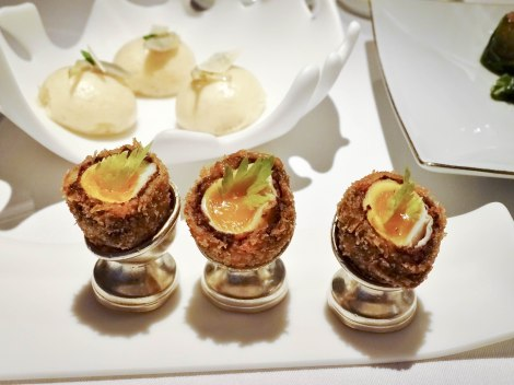 Starting off with amuse-bouches, the delicate quail scotch eggs